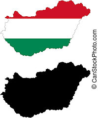 hungary - vector map and flag of Hungary with white...