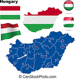 Hungary vector set. Detailed country shape with region ...