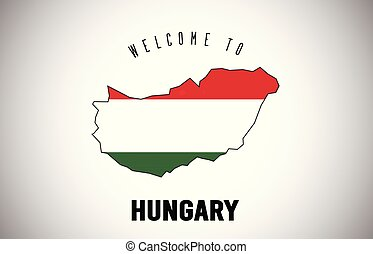 Hungary Welcome to Text and Country flag inside Country border Map Vector Design.