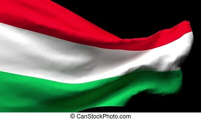 Hungary's national flag flutters in the wind