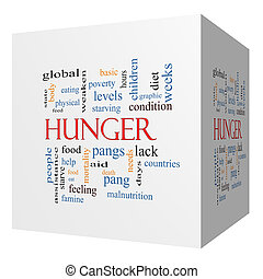 Hunger 3D cube Word Cloud Concept with great terms such as...