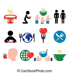 Hunger, starvation, poverty icons set