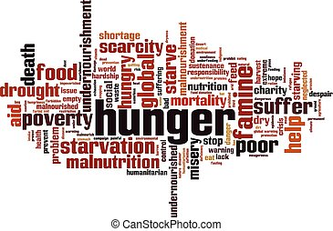 Hunger word cloud concept. Vector illustration