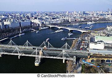 hungerford, pont, vu, depuis, oeil londres