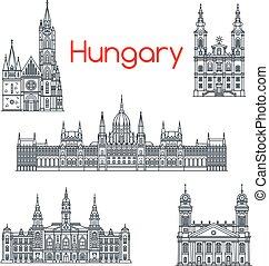 hungría, edificios, vector, arquitectura, iconos