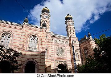 hungría, synagogue., budapest, grande