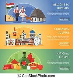hungria, bandeiras, bem-vindo