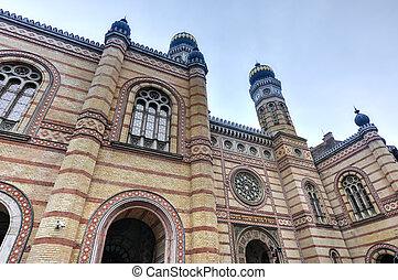 hungria, grande, sinagoga, budapest