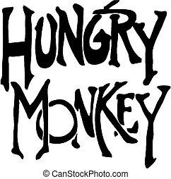 hungrig, affe