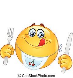 hungrig, emoticon