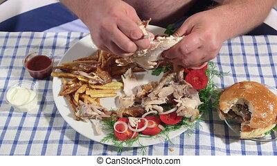 hungrig, mann, essende, dicker , gebratenes essen, hause