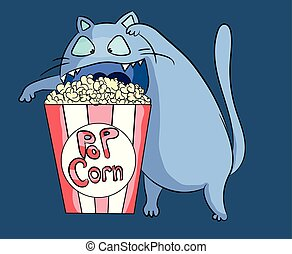 Hungry and funny popcorn cat at cinema preparing to dig into the food. Blue kitty having a snack character illustration. Salt and butter vector.