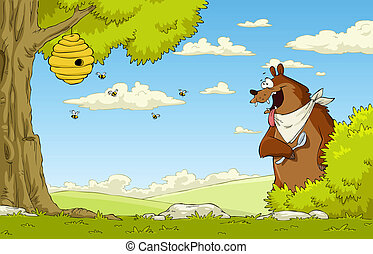 Hungry bear - A hungry bear watching bee hive, vector ...