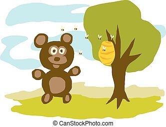 Hungry Bear Eats Honey