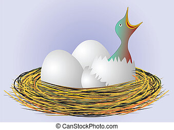 hungry bird in nest - vector - Illustration of the hungry...
