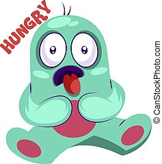 Hungry blue monster vector illustration on a white background