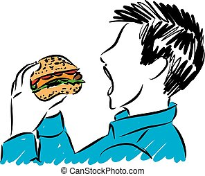 hungry boy eating burger vector illustration