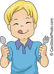 Hungry Boy - Illustration of a Little Boy Holding a Spoon...