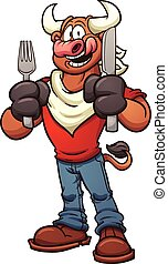 Hungry bull - Hungry cartoon bull. Vector clip art...