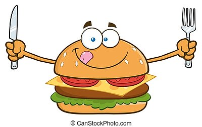 Hungry Burger With Knife And Fork - Hungry Burger Cartoon...