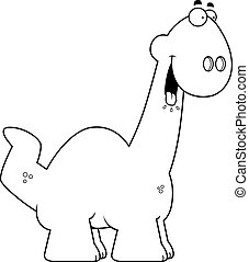 Hungry Cartoon Apatosaurus - A cartoon illustration of a...