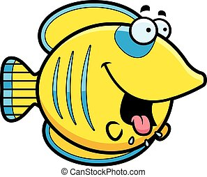Hungry Cartoon Butterflyfish - A cartoon illustration of a...