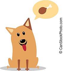 Hungry cartoon dog. Vector illustration