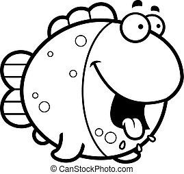 Hungry Cartoon Fish - A cartoon illustration of a fish...