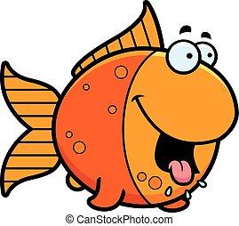 Hungry Cartoon Goldfish - A cartoon illustration of a...
