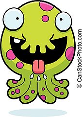 Hungry Cartoon Monster - A cartoon illustration of a little...