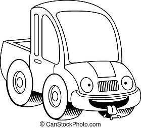 Hungry Cartoon Pickup Truck - A cartoon illustration of a...