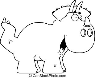 Hungry Cartoon Triceratops - A cartoon illustration of a...
