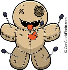 Hungry Cartoon Voodoo Doll - A cartoon illustration of a...