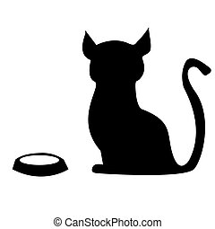 hungry cat with an empty bowl