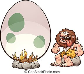 Hungry caveman - Hungry cartoon caveman cooking a giant egg....