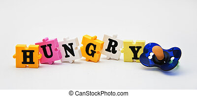Hungry children - Colorful word puzzle spelling word...