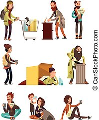 Hungry dirty homeless people. Adult woman and man begging money vector characters set