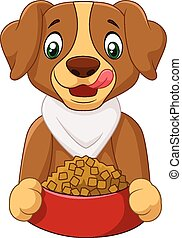 Hungry dog cartoon with dog food - Vector illustration of...