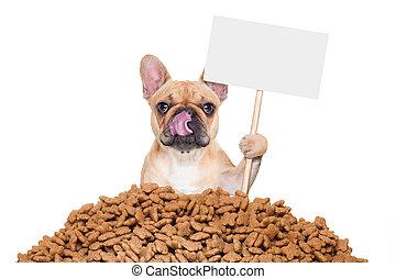 hungry dog - hungry bulldog dog behind a big mound or ...