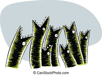 Hungry Eels - Hungry cartoon eels grasp for something to...