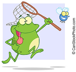 Hungry Frog Chasing Fly With A Net Cartoon Character