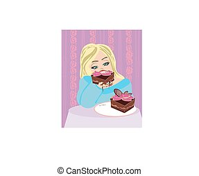 hungry gluttonous woman eating pie
