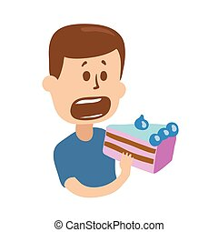 Hungry guy taking a bite of cake. Isolated flat illustration on white backgroud. Cartoon vector image.