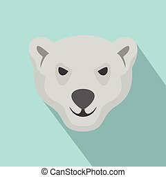 Hungry head of polar bear icon, flat style - Hungry head of...