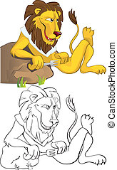 Hungry lion leaning on a stone. Color and outline...