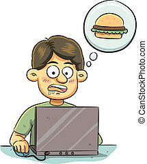 Hungry Man - cartoon illustration of man browsing of ...