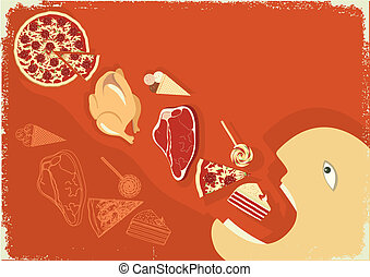 Hungry man eating a lot of food. Vector grunge poster