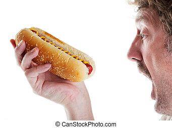 Hungry Man With Hot Dog