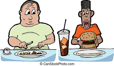 Hungry Men - Large man with small salad and skinny man with...