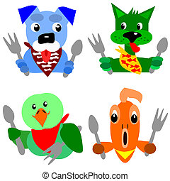 Cartoon illustration of a pet dog, cat, parrot and gold fish that are ready for their dinner.